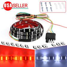 "60"" Double Row LED Truck Tailgate Strip Light Bar Backup Brake Signal Red&White"