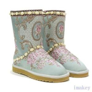 Lady's embroidery Shoes Sheepskin Pearl Rhinestones Snow Mid Calf Winter Boots