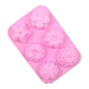 3D Silicone Mould Cake Decorating Chocolate Baking Mold Wax Melts 6 Shaped