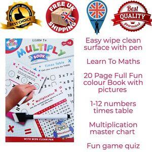 Kids Create A5 Learn to Multiply Book 20 Wipe-Clean Learning Worksheet with Pen