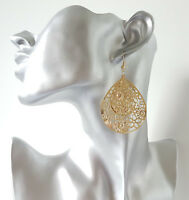 Pretty 6cm long gold tone filigree teardrop shape disc lightweight drop earrings
