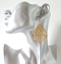 Pretty 6cm long gold tone filigree teardrop shape disc lightweight drop earrings