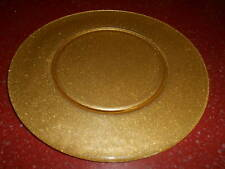 4pc Gold Glitter Glass Charger Plate Platter 12.75""