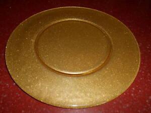 "4pc Gold Glitter Glass Charger Plate Platter 12.75"""