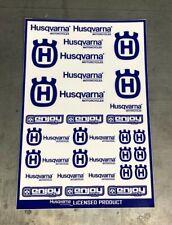Husqvarna Racing  Motorcycle Sticker Sheet by Enjoy Mfg (BLUE/WHITE)