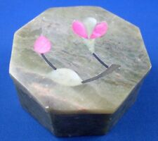 Retro HANDCRAFTED MARBLE Jewellery Trinket Box w/SHELL Inlay Lid - In Australia