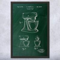 Framed Stand Mixer Print Culinary Gifts Kitchen Art Mixer Blueprint Cooking Gift