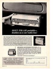 1963 SONY AM/FM PORTABLE RADIO / CONVERTS TO AN AUTO RADIO ~ ORIGINAL PRINT AD