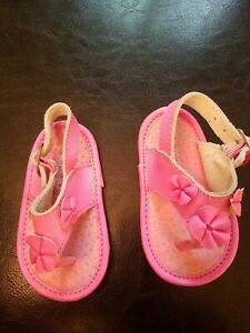 THE CHILDREN'S PLACE PREWALKER BABY GIRL PINK LEATHER FLOWER SANDALS SIZE 2
