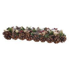 Adventskranz länglich Zapfen-Teelicht Schnee, 4er Adventsgesteck Weihnachtskranz