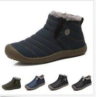 Warm Mens Winter Snow Ankle Boots Fur Lined Casual Shoes Outdoor Slippers HOT
