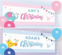 4ft Giant DIY Personalised Christening Party Wall Banner Scene Setter Decoration