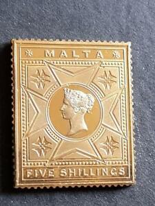 MALTA- Q VICTORIA-5 Sh VALUE-925 STERLING SILVER+GOLD PLATED STAMP INGOT-19g