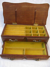 VINTAGE Wood JEWELRY CHEST Box~Hinged Lid + One Drawer~CENTURION