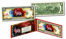Chinese Zodiac Colorized $2 Bill US Lucky Money New Lunar YEAR OF THE RABBIT