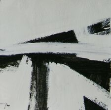 JOSE TRUJILLO Acrylic Painting 9X9 Black & White ABSTRACT ART MODERNIST - SIGNED