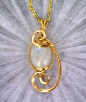 Rainbow Moonstone Gemstone Necklace Pendant in a 14kt Rolled Gold Setting