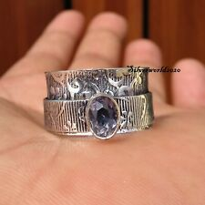 Amethyst Spinner Ring 925 Sterling Silver Plated Ring Handmade Ring Size 9 zz70