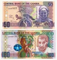 New: GAMBIA 50 and 100 Dalasis Banknotes (2018) P.28d and 29bc - UNC.