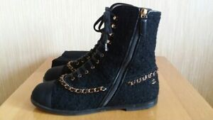 AUTH Chanel Black Tweed Satin Leather Chain CC Logo Ankle Boots Size EU 38.5