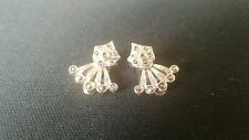 Vintage 50s Marcasite Type Clip On Earings Costume Jewellery