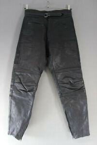 RHINO BLACK COWHIDE LEATHER BIKER TROUSERS - WAIST 32 INCH/INSIDE LEG 29 INCH