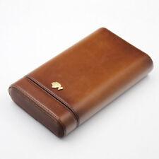 COHIBA Brown Real Leather Cedar 3 Tube Travel Cigar Case W/Humidifier