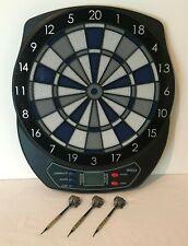 Electronic Dart Board Blue Gray Black 64310 with 3 Plastic Tip Darts Halex Zeta