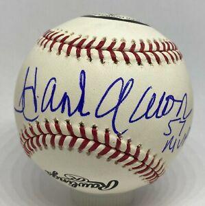 "Hank Aaron "" 1957 NL MVP "" Signed Logo Baseball PSA/DNA Sticker + JSA LOA HOF"