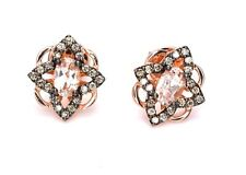 LeVian Peach Morganite Chocolate Diamond Earrings Cluster Stud 14K Rose Gold NEW