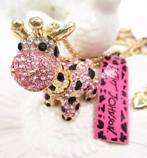 Betsey Johnson Necklace Pink Black Gold Giraffe With Crystals Adorable Baby Cute