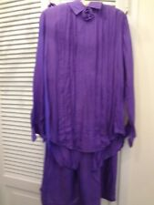 VINTAGE 2-PIECE 100% SILK PANTS OUTFIT SIZE S ONE BOTTOM BUTTON MISSING WASHABLE