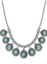 NWT $49 LUCKY BRAND Silver-Tone Turquoise Collar Necklace