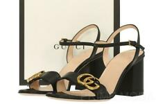 NEW GUCCI LIFFORD BLACK LEATHER DOUBLE G 3' HEELS SANDALS SHOES 36/US 6