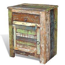 Reclaimed Solid Wood Vintage Bedside End Table 1 Drawer Cabinet Storage Handmade