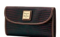 Dooney & Bourke NWT $148 Wallet Lizard-Embossed Leather Boudeaux Brown Tmoro Tri