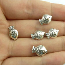 89182 50X Vintage Silver Tone Gold Fish Spacer Beads Alloy Loose Findings