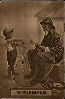 Fishing First Catch of Season net boy fisherman ~ dated 1912 vintage postcard