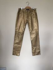 USA Earl Jean Women's Leather Trousers Gold Colour Size 10
