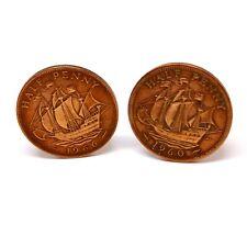 Repurposed Vintage Half Penny Coin Cufflinks. Anniversary. Birthday. 1960 1966.
