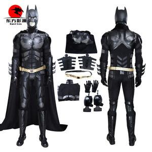 DFYM Batman Cosplay Costume The Dark Knight Black Leather Jumpsuit Cloak