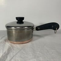 Vintage Revere Ware Stainless Steel Copper Bottom 1 QT Sauce Pan W/Lid Pre 1963