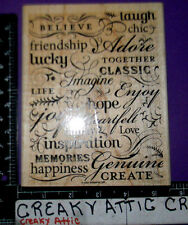 STAMPIN UP TRES CHIC 1 RUBBER STAMPS BELIEVE LAUGH ADORE LUCKY HOPE IMAGINE