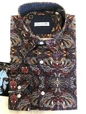 NWT Men's JOHN LENNON Long Sleeve Woven Paisley Printed Dress Shirt SZ: Large