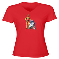 Juniors Girl Women Vneck Tee T-Shirt Gift Star Wars R2D2 C-3PO Robot Droid Rebel