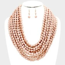 Multi Layers Peach Facted Lucite Bead Chunky Necklace earring Set