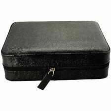 4 Watch Box Travel Case, Leather, Black Lizard LIMITED TIME SALE PRICE