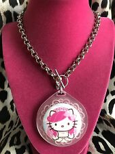 Tarina Tarantino Pink Head Hello Kitty Cameo Bride Bridal HUGE Lucite Necklace