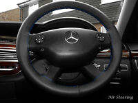 FITS MERCEDES W639 VITO 2 BLACK LEATHER STEERING WHEEL COVER BLUE STITCHING NEW