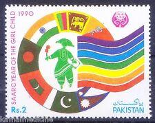Pakistan 1990 MNH, SAARC yr ofGirl, Flags, India, Pakistan, Srilanka